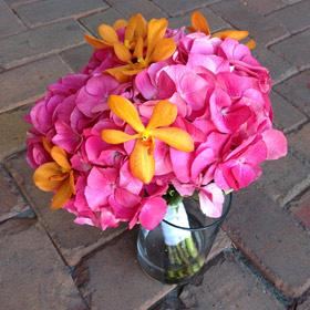 Pink-Hydangea-Orange-Orchid